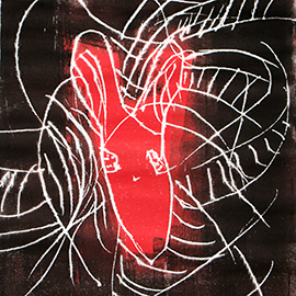 asinus Logo als künstlerischer Druck in schwarz und rot.