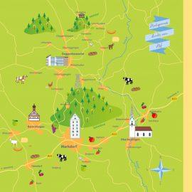 Landkarte mit Illustrationen